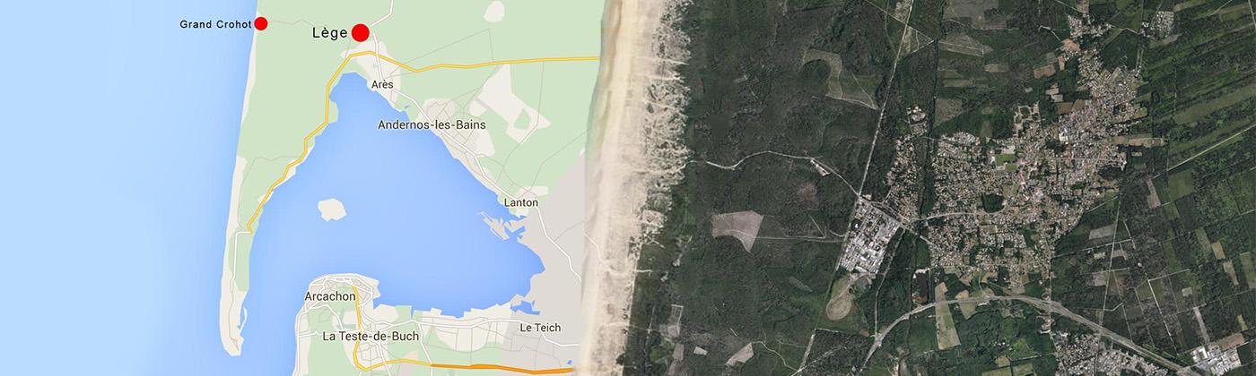 Carte emplacement du village de Lege au Cap Ferret