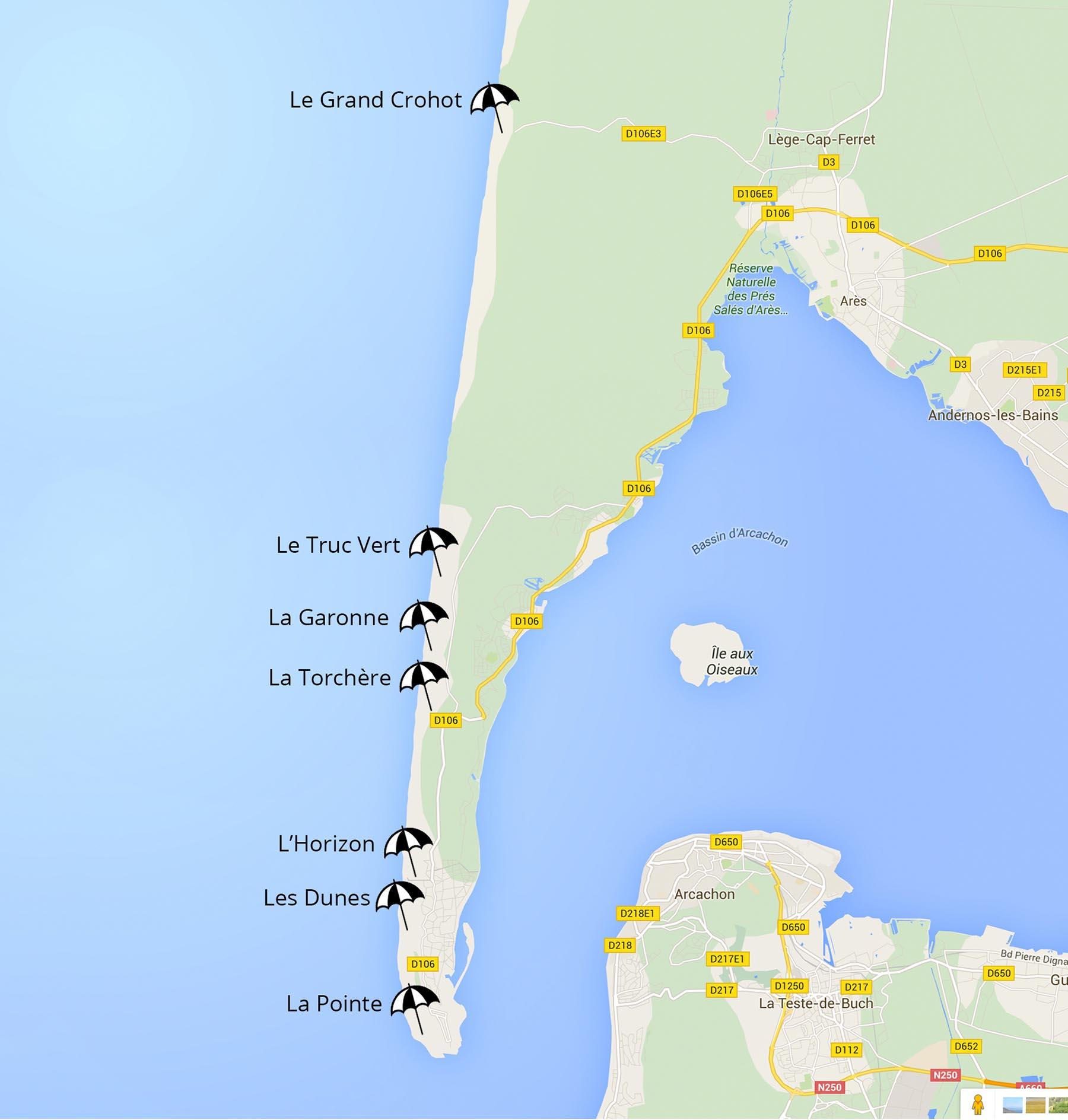plan des plages du cap ferret côté océan