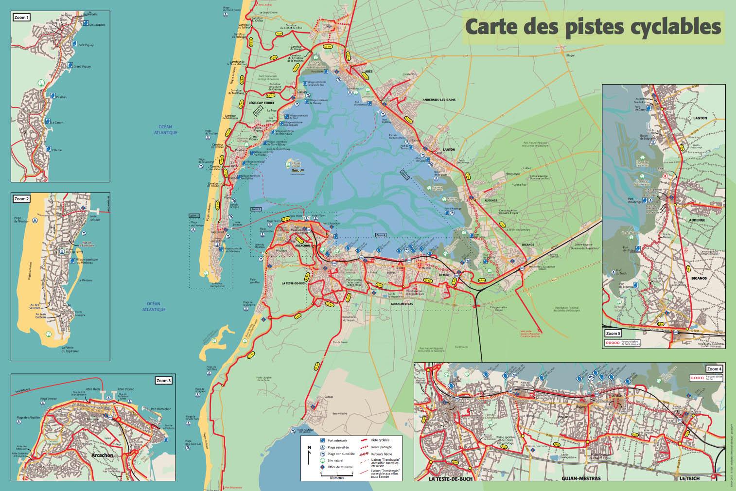 Plan des pistes cyclables du Cap Ferret