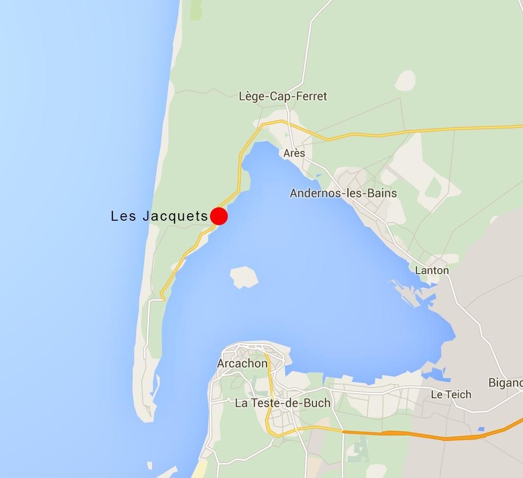Carte de l'emplacement du village de Les Jacquets sur la presqu'ile du Cap Ferret