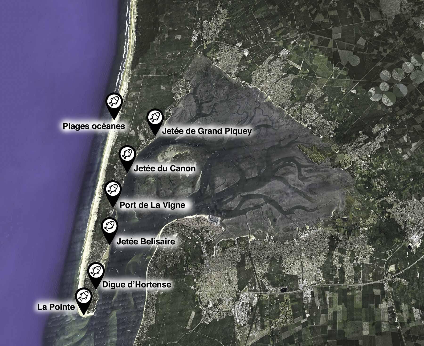 carte des spots de pêche au cap ferret