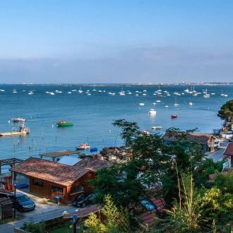 Vue sur l'Ile aux Oiseaux depuis le village de Petit Piquey au Cap Ferret