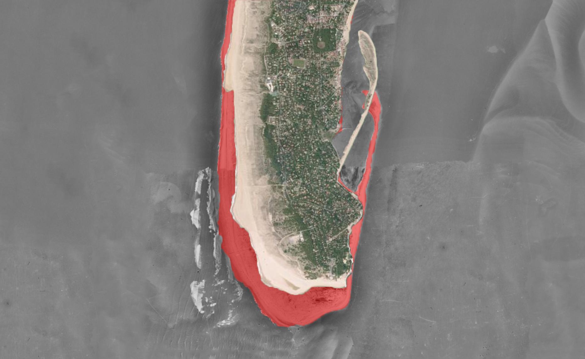 Comparaison de la topographie de la pointe du Cap Ferret entre 1950 et 2015