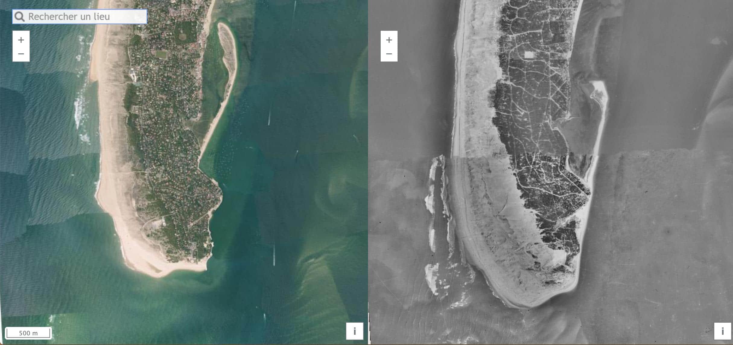 Vues aériennes de la pointe du Cap Ferret en 2015 et 1950