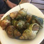 Assiette de bullots Chez Yannick dans le village du Canon