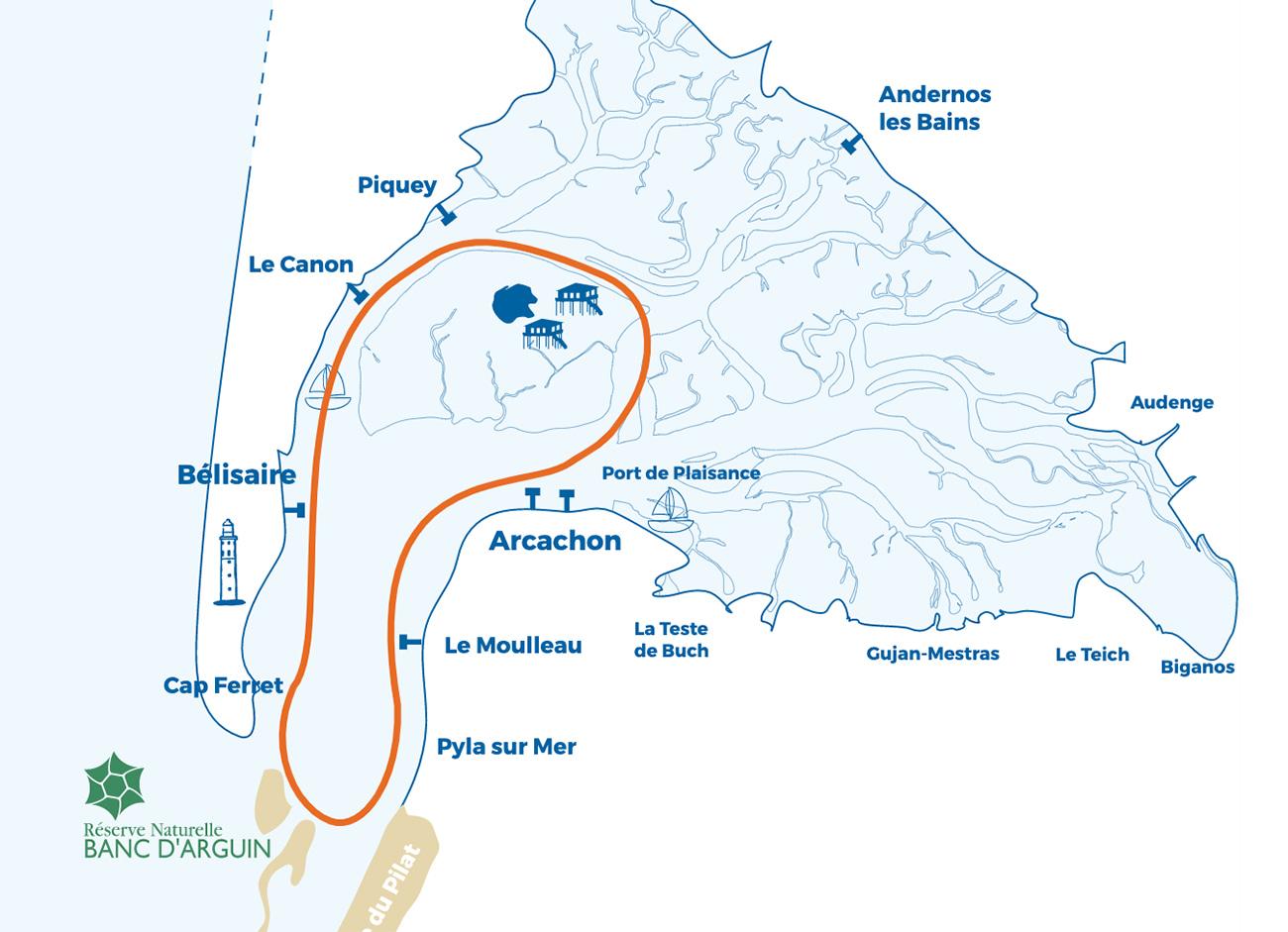 """Plan de la balade """"Croisière Océane"""" proposée par le catamaran Le Côte d'Argent sur le Bassin d'Arcachon"""