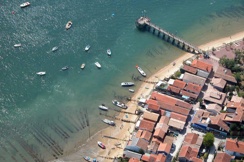 Vue aérienne du village du Canon au Cap Ferret