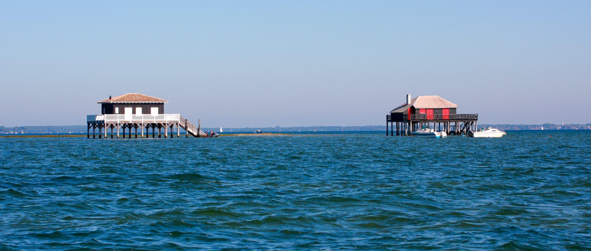 Balade en bateau autour de l'ile aux oiseaux et ses cabanes tchanquées